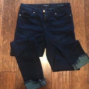 Skinny soft dark denim jeans.